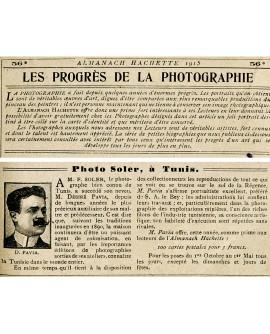 Biographie du photographe F. Soler dans l'Halmanach-Hachette de 1915