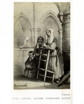Gravure: femmes dans l\'église de Guérande
