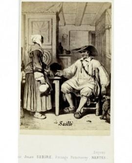 Gravure: couple breton de Saillé