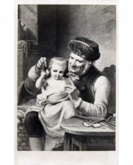 Peinture: vieillard et enfant jouant