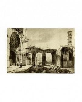 Gravure: Vue du Colisée à travers les ruines dees Thermes de Caracalla