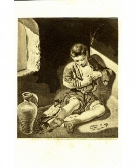Peinture de Murillo: enfant s\'épouillant