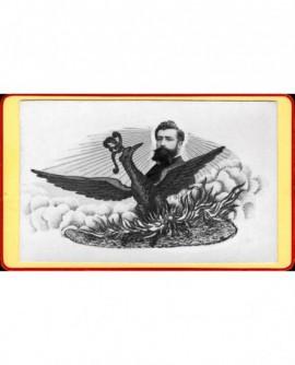 Aigle sur un nid devant un portrait. caricature