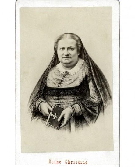 Femme, mantille sur la tête, livre à le main: Reine Christine