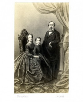 Couple impérial en bourgeois (vers 1865): Napoéon III, l' impératrice Eugénie et le pri