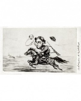 Caricature d'Adolphe d'Eichthal chassant à courre