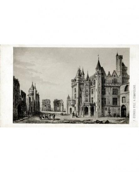 Gravure du château de Pierrefonds à Compiégne (avant sa restauration par Viollet-me-Duc)