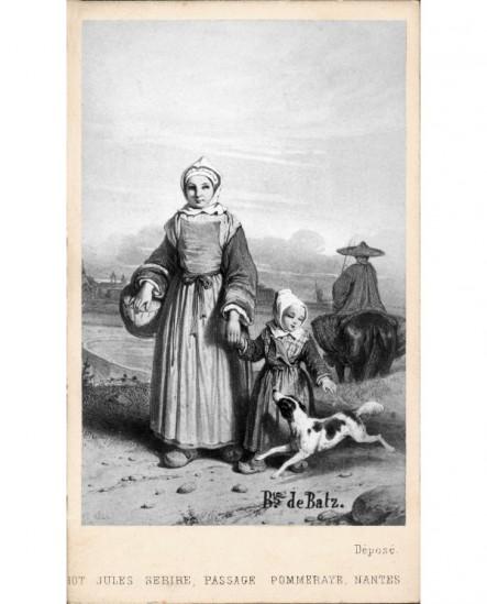 Jeune fille, costume régional pays guérandais avec pannier
