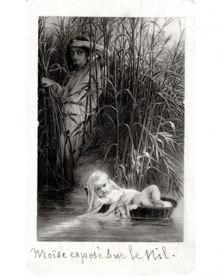 Gravure d'après Delaroche: Moïse exposé sur le Nil
