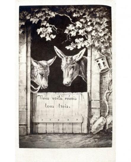 """Gravure humoristique avec deux ânes: """"Nous voilà réunis tous trois"""""""