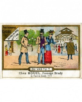 Carte publicitaire du photographe C. Houel, paasage Brady (à Paris)