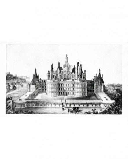 Gravure: façade méridionale du château de Chambord