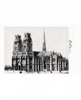 Gravure: la cathédrale Sainte-Croix d\'Orléans