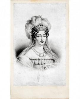 Portrait lithographié de la duchesse d'Angoulême, coiffée d'un bonnet à plumes