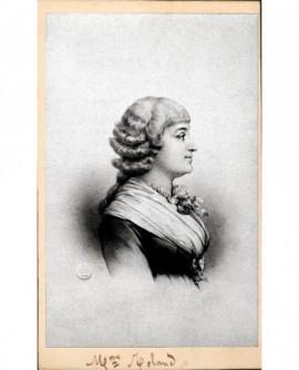 Portrait lithographié de Mme Roland, de profil
