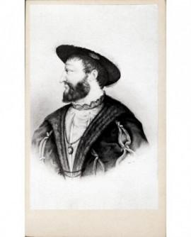 Portrait lithographié du roi Roi François 1er, de profil.