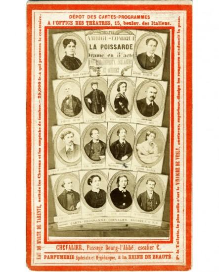 """Carte programme. Mosaïque des acteurs de """" La Poissarde"""" au Théâtre de l'Ambigu"""