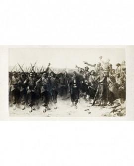 """Peinture de Protais : """"Les vainqueurs, retour au camp."""""""