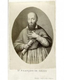 Portrait de Saint-François de Sales, la constitution des Visitandines à la main