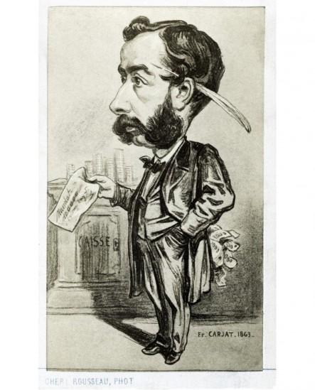 Caricature d'un financier (Emile Pereire?) signée Carjat 1863