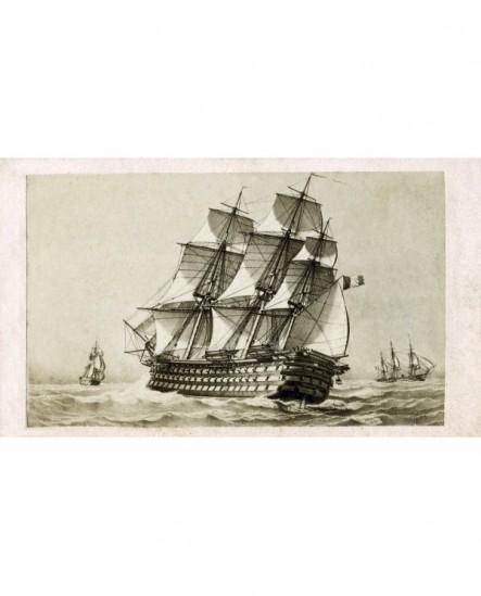 """Peinture du vaisseau trois mats \""""Bretagne\"""""""" en mer"""""""