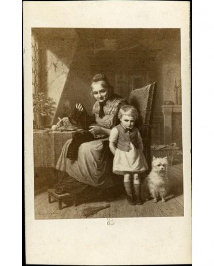 Peinture: femme sur un fauteuil reprisant la culotte d'un enfant en chemise