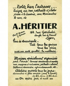 Carte publicitaire d'un photographe: A. Héritier