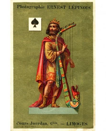 Carte publicitaire photographe Ernest Lépinois(roi David jouant de la harpe)