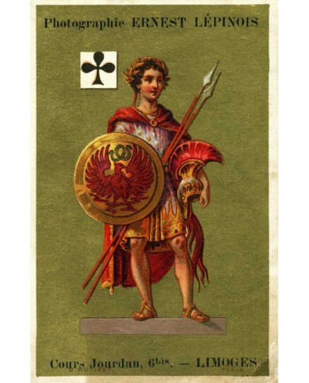 Carte publicitaire photographe Ernest Lépinois (guerrier grec lauré, figure du valet)