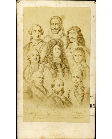 Mosaïque Rois Bourbon de France d\'Henri IV au comte de Chambord