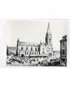 peinture : procession du Saint-Sacrement devant église