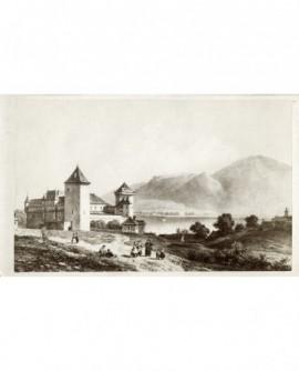 Gravure du château d'Annecy, le lac à l'arrière-plan et des personnages au premier plan