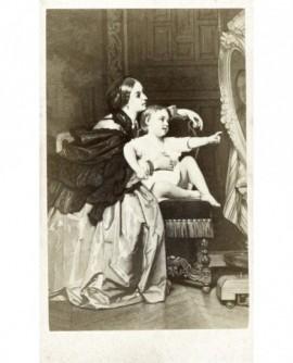 Peinture: mère et enfant à la toilette