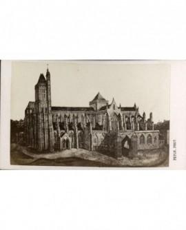 Gravure d'une cathédrale néo-gothique