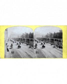 Vue de cheveaux et fiacres rue de Rivoli à Paris (a)