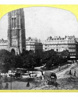 Square et tour Saint-Jacques avec cheveaux et caleches. Paris (b)