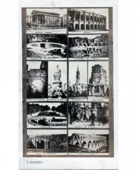 Mosaïque de vues de Nimes avec timbre