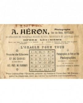 Carte publicitaire du photographe Adolphe Heron