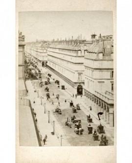 Rue de Rivoli à Paris. carosse, chevaux