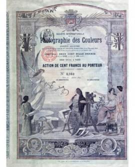 """Action de cent francs au porteur de la """"Société Nationale de la Photographie des Couleurs"""