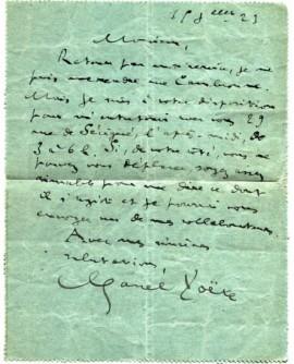 Lettre au photographe Henri Malorey