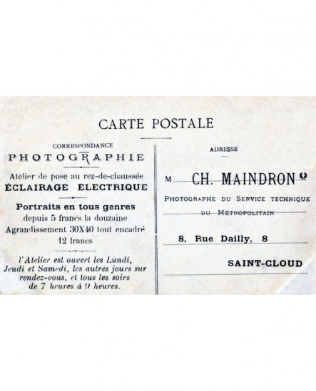 Publicité du photographe Maindron sur une photo carte postale de 1910
