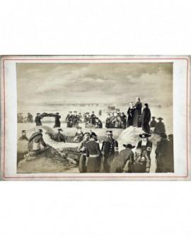Scène de guerre en 1870. militaires, prêtres et médecins. peinture de Bonnard