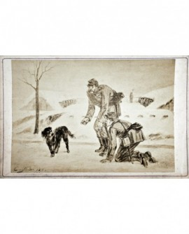 Peinture de militaire cherchant à attraper un chien. 1871