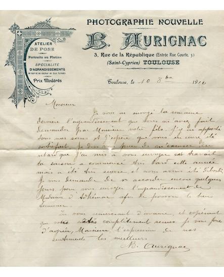 Facture du photographe Aurignac. 1910