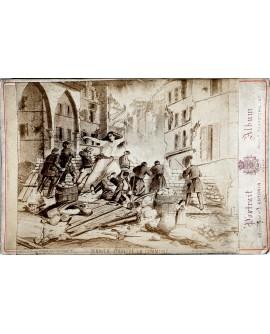 Gravure d'une barricade (soldat). Dernier jour de la Commune