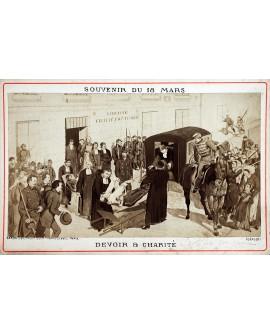 Militaire déposé sur une civière. La commune. 1871