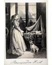 Femme réveuse devant une fenêtre, berceau, bébé, chien