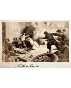 Militaires tirant sur deux femmes. La Commune. 1870. Pétroleuses