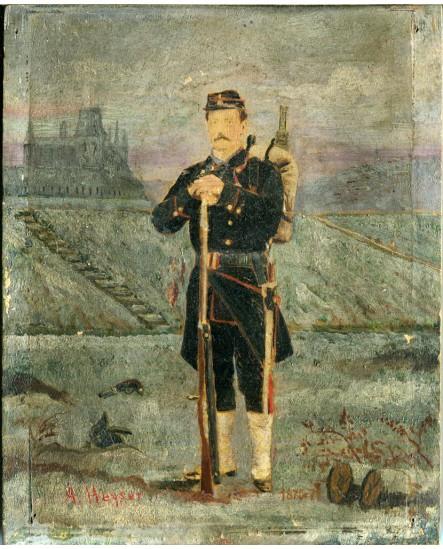 Militaire posant debout avec fusil et paquetage